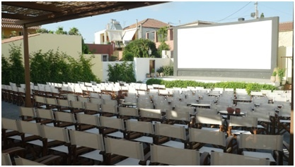 The open air Cinema Paradiso in Archanes Village where beyond capacity crowds packed in each night of the festival