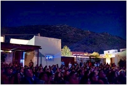 The crowd taking their seats in the Cinema Paradiso, Archanes Village, Crete for night two of the festival