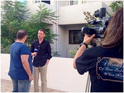 Me being interviewed for State TV by Alexandros Romanas Lizardos