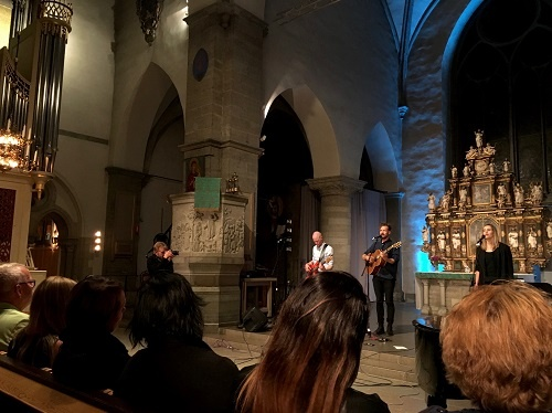 Meadows performing at Saint Nicholas Church
