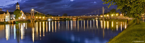 Inverness river and lights by night