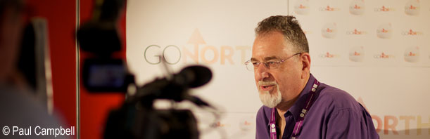 Mick Glossop being interviewed at the Media Centre, goNORTH